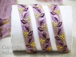 2 yard Purple embroidered laces saree fabric trim dresses tape embroidered costume trimmings ribbon Indian gown border crafting sewing beach bags accessories