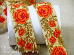 2 Yard Embroidered Orange Floral Indian Crafting Fabric Saree Sewing Decorative Trim Beach Bag Ribbon Pillow Cushion Covers Trimmings wedding wear tape Christmas home decor borders