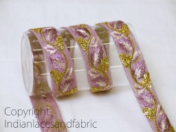 2 yard lilac embroidered decorative Indian laces sari border fabric sewing crafting wedding party wear dress ribbon lehenga material tape home décor drapery cushion covers trimming jewelry making trim