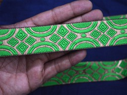 1.2 Inch wide Wholesale Parrot Green Jacquard Trim By 9 Yard Brocade Craft Ribbon Trim Decorative Ribbon Trimmings Indian Jacquard Sari Border Sewing Trim