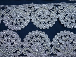 Silver Kundan Lace Trimmings Mirror work Saree Border