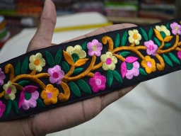 2.3 Inch wide Wholesale Embroidered Trim border Multicolor Decorative Trims Ribbon Silk Sari Border Fabric Trim By 9 Yard Sewing Costume Crafting Laces designer Trims in Pink Magenta Mustard Yellow Light Yellow