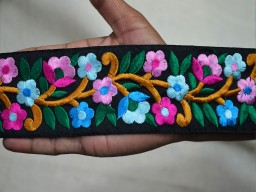 2.3 Inch wide Wholesale Embroidered Ribbon Trim By 9 Yard Sewing Trimmings Fabric trims and embellishments Decorative Craft Trims Indian Lace Sari Border