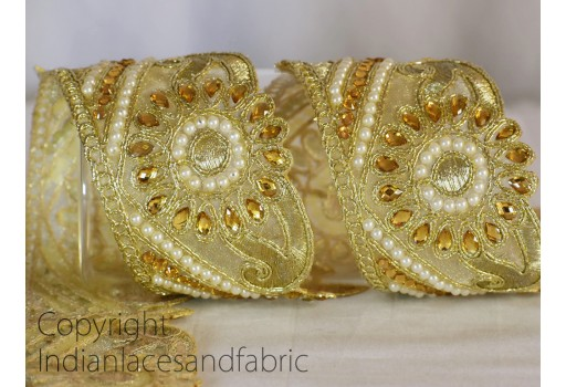 Decorative Costume Indian Sari Border Ribbon Tape Gold Kundan Trim Stone Work Trim By the Yard