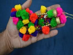 Tribal Multi Color Pom-Pom Tassel Banjara Style Handmade Authentic Accessory for hair belt Boho Hippie Banjara style tassel For Dresses