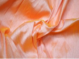 Peach and Yellow Dupioni Fabric by the Yard Indian Poly Dupion Fabric Crafting Wedding Bridesmaid Prom Dresses..