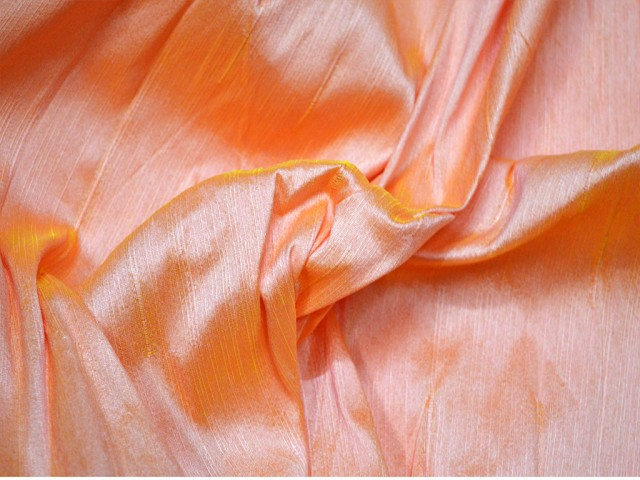 Peach and Yellow Dupioni Fabric by the Yard Indian Poly Dupion Fabric Crafting Wedding Bridesmaid Prom Dresses Sewing Costumes Cushion Covers Drapes