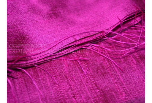 Hot pink with black pure dupioni silk fabric indian raw silk fabric by the yard dupion dresses sewing pillows cushions covers crafting drapery wedding material silk fabric