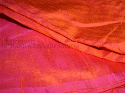Iridescent Orange and Hot Pink dupioni silk fabric yardage By the Yard