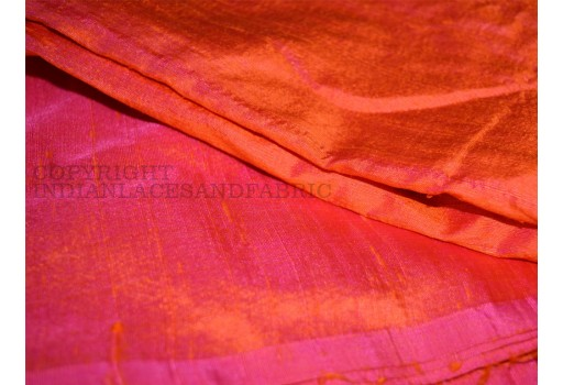 Iridescent Orange and Hot Pink pur Perceent dupioni silk fabric