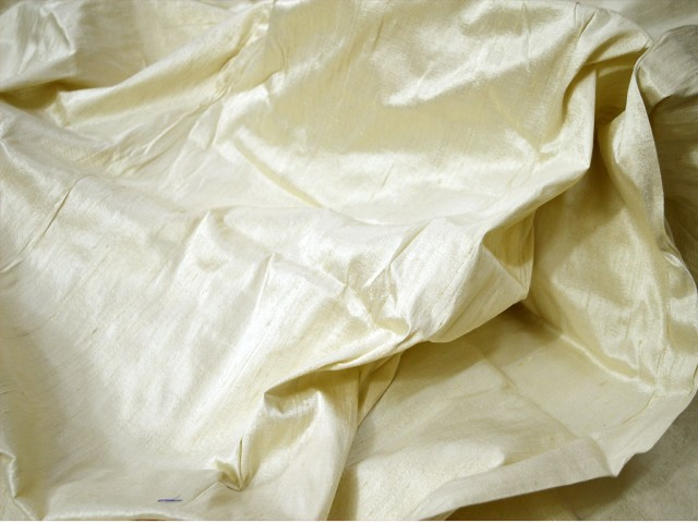 Ivory pure dupioni fabric raw silk by the yard indian wedding dresses pillow cover drapery curtains cushions costume sewing waist coat