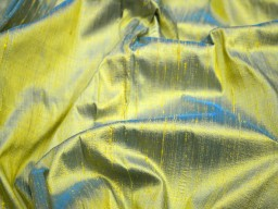 Iridescent yellow blue pure dupioni silk fabric by the yard indian wedding dresses sewing raw silk bridesmaids dolls ribbon upholstery