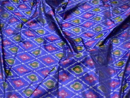 Pure ikat silk royal blue fabric by the yard christmas supplies wedding bridesmaid prom dresses indian handwoven silk crafting sewing cushion covers lehenga clothing accessorie fabric