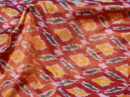 Wedding dresses making burnt orange pure ikat silk fabric by the yard bridesmaid handwoven crafting sewing cushion pillow covers drapery curtain christmas supplies party wear fabric clothing accessories