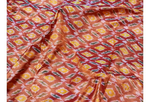 Indian burnt orange pure silk ikat fabric by yard wedding bridesmaid dresses handwoven crafting sewing fabric cushion pillow drapery curtain party wear fabric clothing accessories