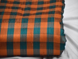 Orange teal pure dupioni check stripes fabric raw silk by the yard indian fashion designer wedding dresses pillowcases drapery cushions costumes sewing craft