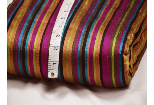 Multi color stripes pure dupioni fabric raw silk by the yard indian festival wear wedding dresses skirts pillowcases drapery cushions costume sewing craft silk fabric for blouses