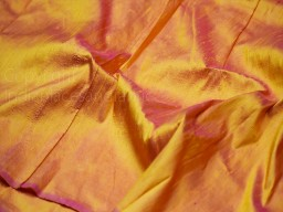 Iridescent yellow fuchsia indian pure dupioni raw silk fabric by the yard sewing costumes wedding prom dress skirt coat pillow cover curtain