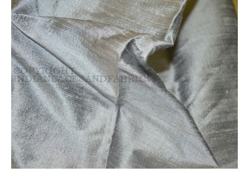 Pure Dupioni Silk raw silk fabric in Silver Grey
