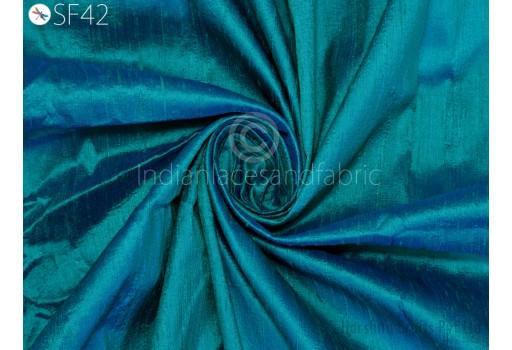 Pure Dupioni Silk raw silk fabric by yard in Sea Green