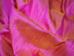 Iridescent hot pink yellow indian pure dupioni raw silk fabric by the yard sewing costumes wedding dress skirt coat pillow cover curtains bridal clutches fabric
