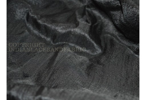 Black Pure Silk Dupioni Raw Silk