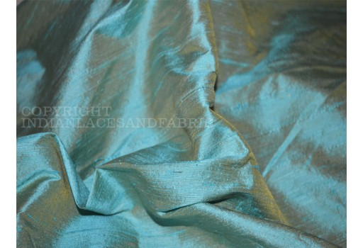 Iridescent Pure Dupioni Silk in Mint with Gold