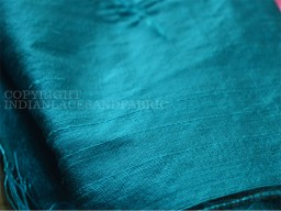 Dark Turquoise Blue dupioni silk fabric yardage By the Yard