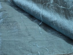 Steel Blue  Pure Dupioni Silk raw silk fabric yardage