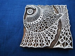Hand Carved Indian Wood Block Fish Wooden Stamp