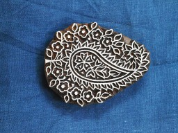 Decorative beautiful carving work paisley pattern decoration wood stamp design textile printing block wooden stamp for crafts