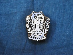 Owl Stamp Wooden Printing Block Hand craved Textile Printing Stamp