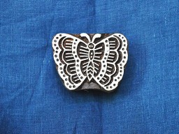 Hand Carved Indian Wood Block Butterfly Wooden Stamp Textile Stamps