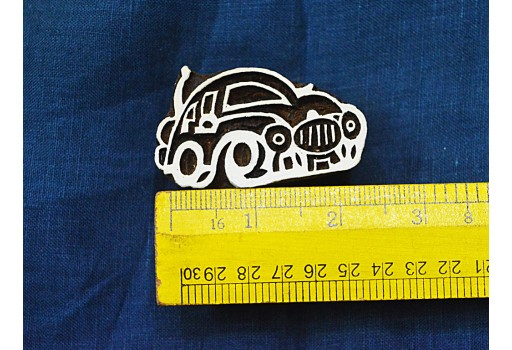 Beetle Car Wooden Stamp Hand Carved Indian Wood Block Textile Stamps