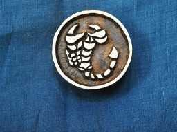 Hand Carved Indian Wood Block Scorpio zodiac signs Wooden Stamp