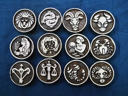 Stamp Wooden Decorative Blocks Indian Set of Zodiac Sign Wood Block Printing Stamps