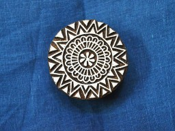Traditional circular round wood block art textile print geometric hand carved stamp pottery wooden beautiful carving work scrap booking decorative paper design stamps