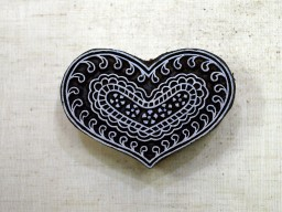 Heart Shape Wooden Stamp Textile Printing Block