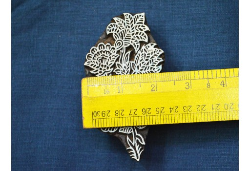 Carved floral motifs wooden stamp Block Printing