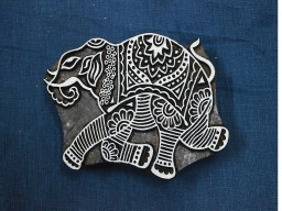 Hand Carved Indian Wood Block Elephant Wooden Stamp