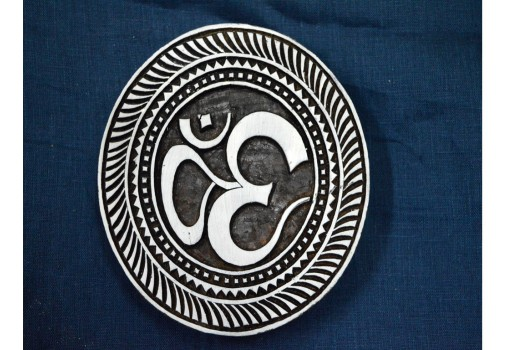 Textile Printing Block Om Aum Circular Wooden stamps