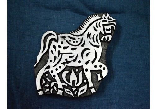 Carved horse wooden block Printing Stamp