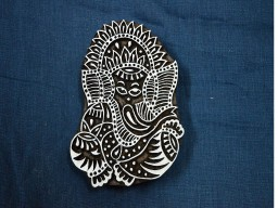 Hand Carved Indian Wood Block Lord Ganesha Wooden Stamp
