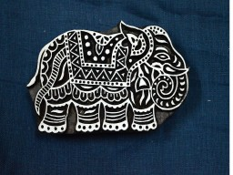 Elephant Wooden Stamp Textile Stamps
