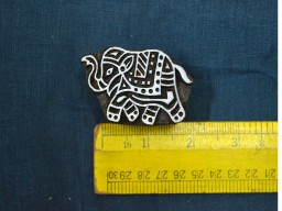 Beautifully carved Elephant on wooden printing stamp