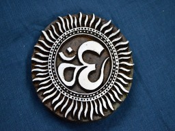 Beautiful carving work in Om Aum pattern on Circular Stamp
