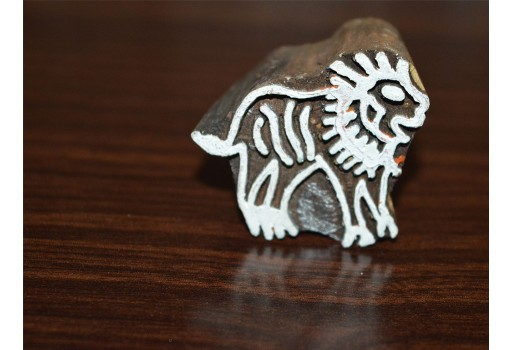 Carved Lion wooden block Printing Stamp