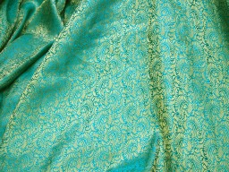 Brocade Fabric in Peacock Green and Gold color