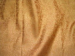 Brocade Fabric in Flower Motifs Weaving Brown and Gold