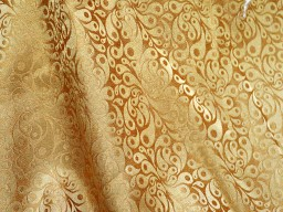 Brocade Fabric by the yard Indian fabrics Banarasi Fabric in Tiny Motifs Weaving Dark Beige and Gold Brocade  Art Silk Fabric